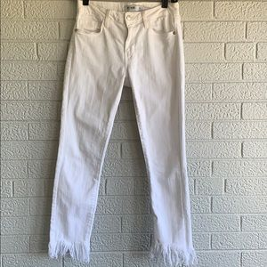 Just Black white jeans with fringe bottoms
